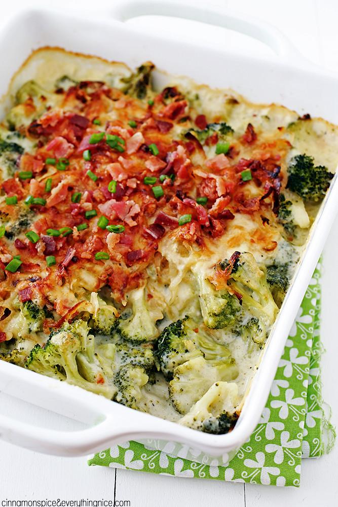 Bacon Cheese Broccoli Gratin