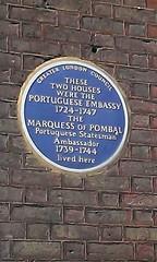 Photo of Portuguese Embassy and Sebastião José de Carvalho e Melo blue plaque
