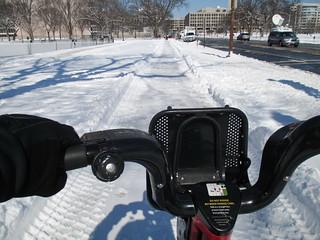 Snow Day Bikeshare Ride Snowy Sidewalk