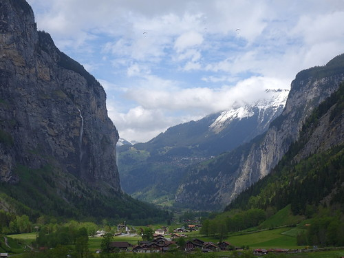 Lauterbrunnen valley with paragliders
