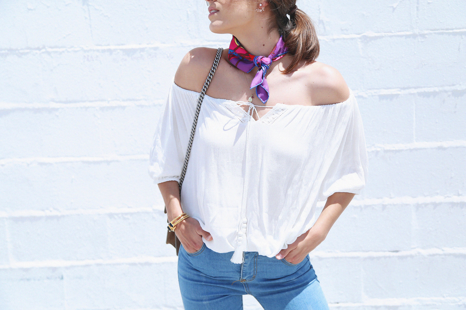 jessie chanes seams for a desire white off shoulder top high waisted jeans gucci bag uterque-6