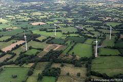Bocages et éoliennes à Camprond (Manche, Basse-Normandie), vue aérienne - Photo of Saint-Aubin-du-Perron