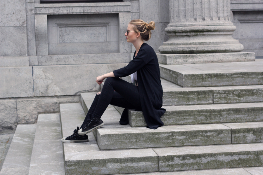 outfit black dark jeans stairs zara clutch asos coat shirt converse all stars