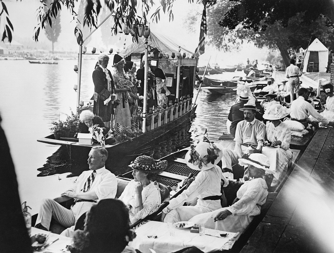 The annual summer regatta at Henley on the River Thames shortly before the outbreak of the First World War