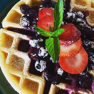 waffles with Michigan blueberry compote & garden mint | by valatal