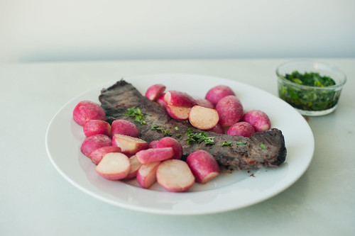 skirt steak with buttered radishes