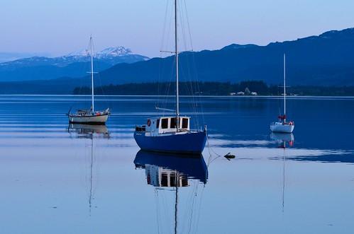 mountains water sunrise reflections boats nikon day bc britishcolumbia clear denmanisland straightofgeorgia d7000