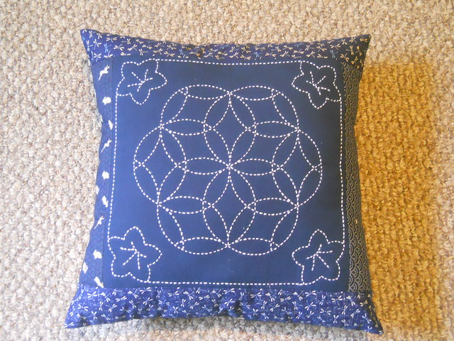 a pillow, made with Sashiko