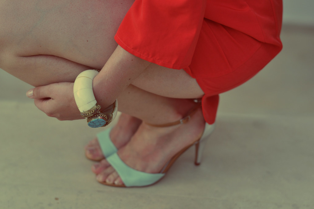 shoes and bangle turquoise and red