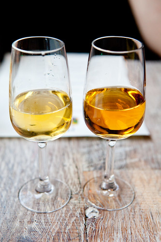 Arima Gorka Izagirre, Late Harvest Txakolina, Larrabetzu, Spain (left) and Churchilla White Port, Portugal