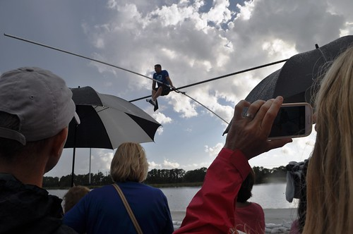 "A young boy shouted, ""Are you scared?"" during today's Q&A. Wallenda replied,""Very."" Sarasota, Fla., June 19, 2013"