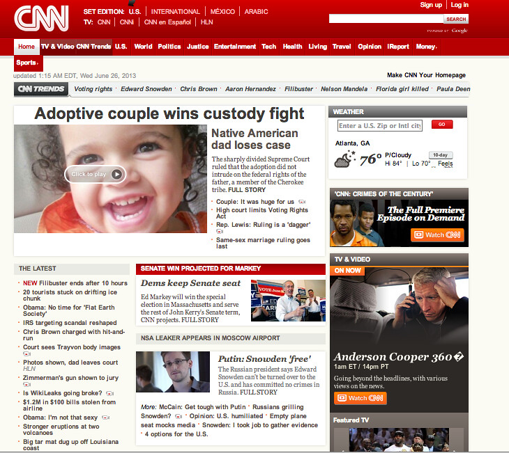 CNN's front page, with tiny link to filibuster news