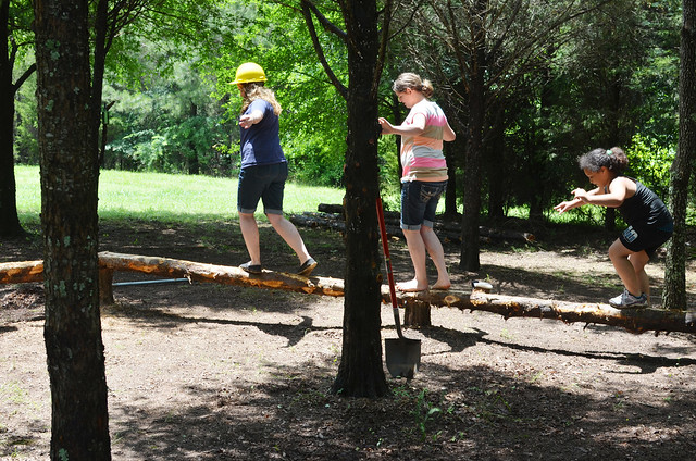 Park staff and volunteers created a nature play area with natural materials.