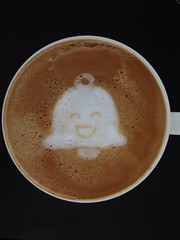 Today's latte, Mr. Jingles . Happy 2nd birthday Google+!