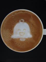Today's latte, Mr. Jingles . Happy 2nd birthday Google+!