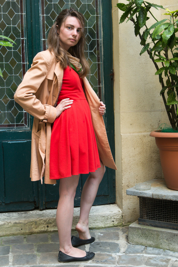 Red Dress, Trench Coat, Paris, green scarf, Never Fully Dressed,