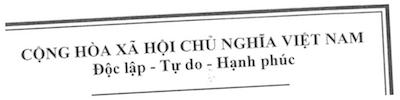 ベトナム語で書かれた契約書の冒頭部分