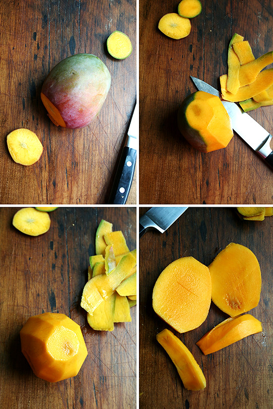 peeling the mango