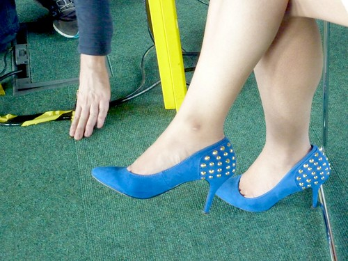 The blue shoes width=