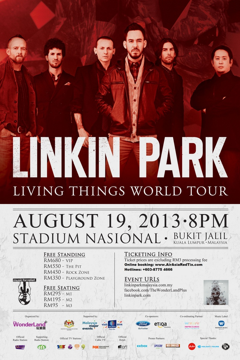 konsert Linkin Park, 'Living Things' World Tour Live Di Malaysia 2013