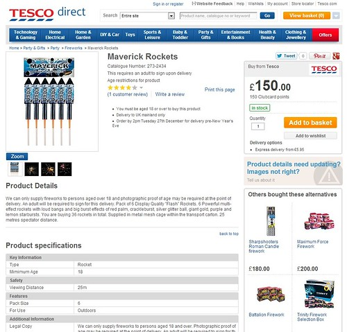 Tesco Vs Epic Fireworks - Maverick Rockets by Standard Fireworks