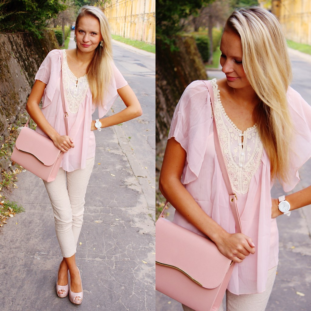 Facebook page of a fashion blog, call me maddie facebook page, blonde girl fashion blog, light pink messenger bag, nude color heels, light pink blouse with white button details, claw ring, geneva watch, very cheap qualitative watch, ebay bargain watch,