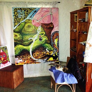 #turtle #painting #art with sleepy #cat