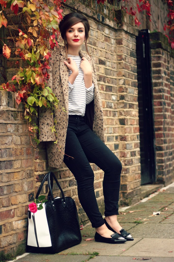 Leopard Coat and Striped Top Outfit