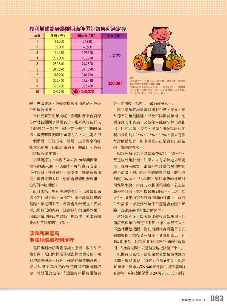 201311[錢雜誌]儲蓄險聰明挑-揮別月光族生活p83