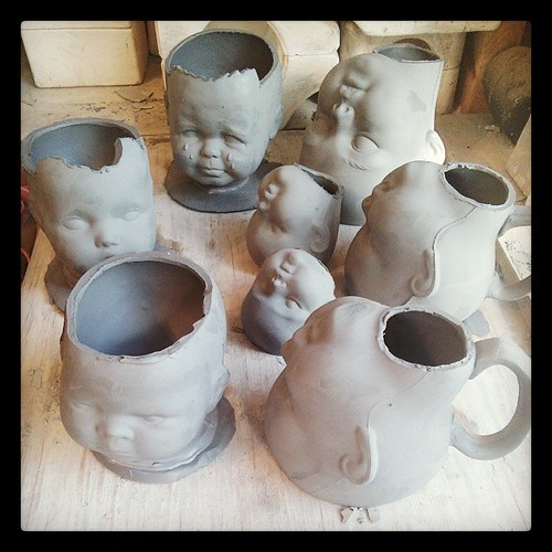 Product development day... AKA some days I can't differentiate between work and play. #ceramics #slipcast #babyheads