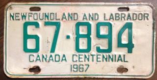 NEWFOUNDLAND and LABRADOR 1967 ---LICENSE PLATE