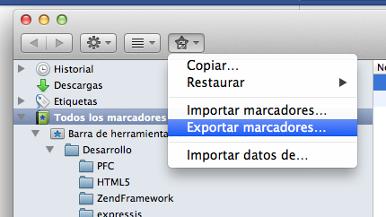 Exportando marcadores en Firefox
