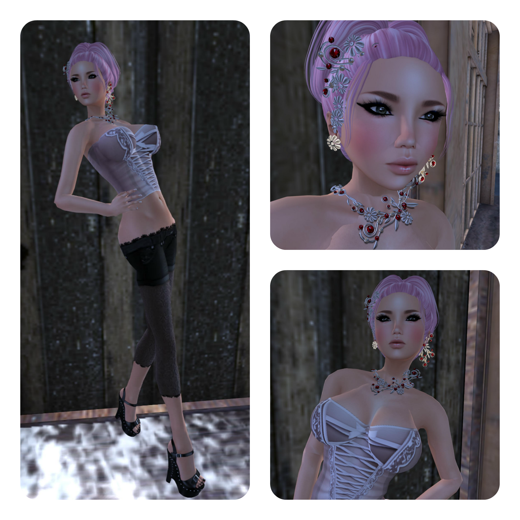 Boobies Planet - Perch Lily Corset pale Pink & F.K Shorts + Leggings feat **Feel**