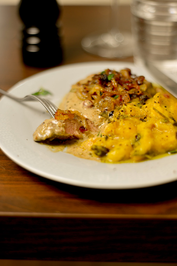 veal liver in cream sauce, caramelized onion, pumpkin mash with sage and garlic