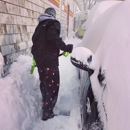 The kid helped us shovel. Xoxo