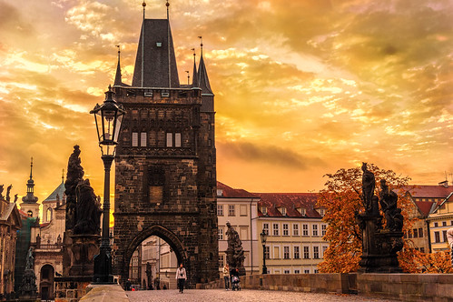 morning travel building tower architecture sunrise europe prague places czechrepublic charlesbridge danube
