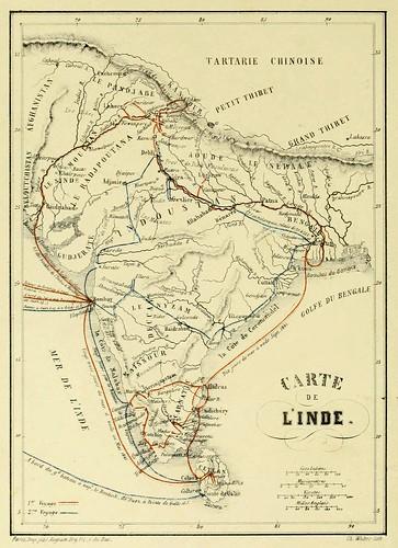 001- Mapa de la India-Voyages dans l'Inde -1858- Alexis Soltykoff