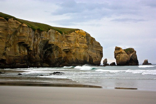 the beach of Tunnel Beach in Dunedin