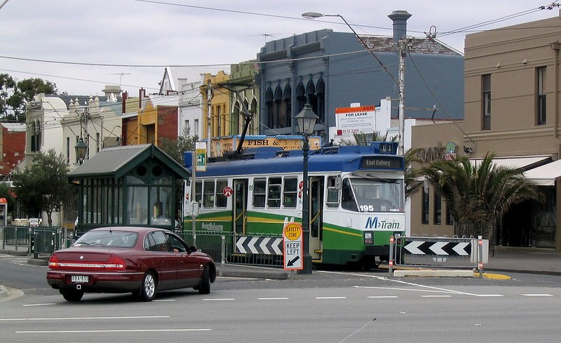 Tram at terminus of Route 1 South Melbourne, in M>Tram colours (March 2004)