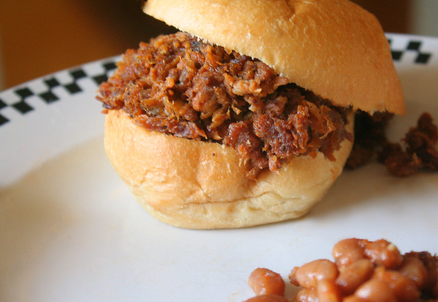 Shredded BBQ Sliders and Beans