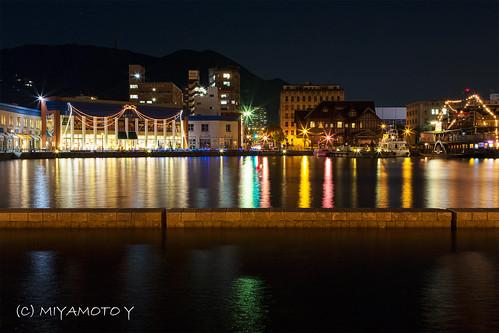 light sea reflection water japan night bay nightscape nightview 夜景 福岡県 門司港 北九州市 fukuokapref mojibay