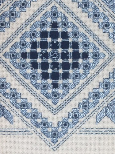 Blue and white hardanger