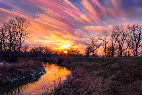 sunset sky tree nature clouds reflections river landscape timelapse northwest indiana melt thaw paintedsky winterlandscape warmtones efs1022mm littlecalumetriver timestack jackienovakphotography