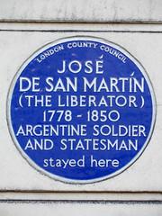 Photo of José de San Martín blue plaque