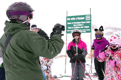 U.S. Forest Service ski ranger Nancy McNab talks about safety before taking a group skiing as part of the Arapahoe National Forest's Ski with a Ranger program. (U.S. Forest Service)