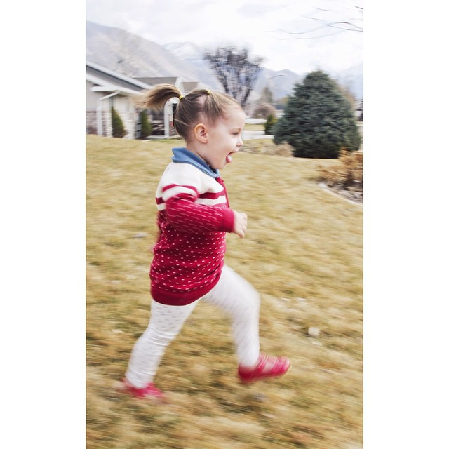 "How do you do #legsfordays on a roly-poly 2-year-old? For #stylemefeb, well her legs may be short but they ""go"" on forever. Bunny in perpetual, joyful motion.    Sweater by #rockefella  leggings from #target @targetstyle Shoes by #livieandluca @livieandlu"