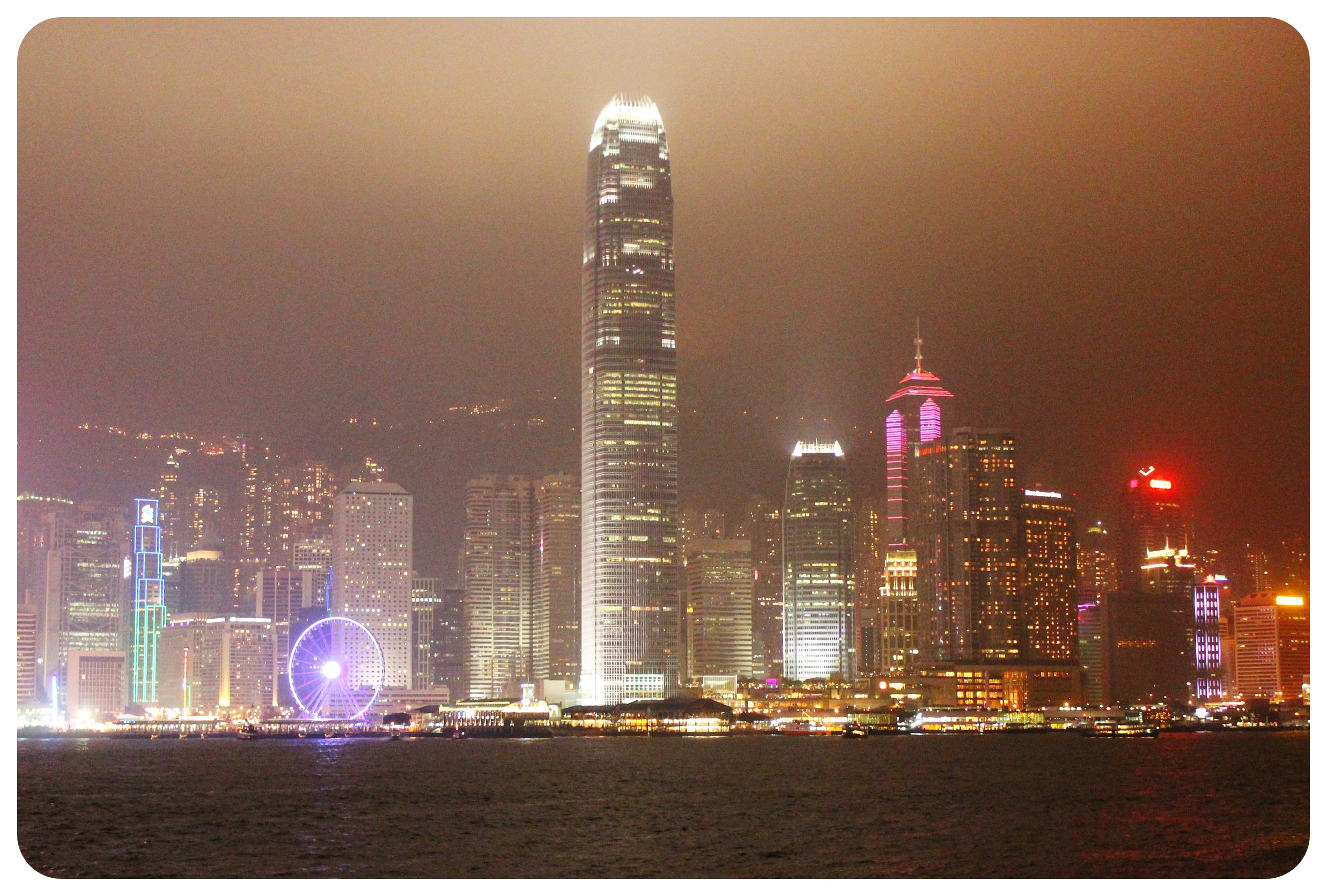 hong kong harbour view at night
