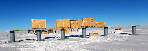 Cargo winterized on 6-foot high spools to minimize drifting at the drill site