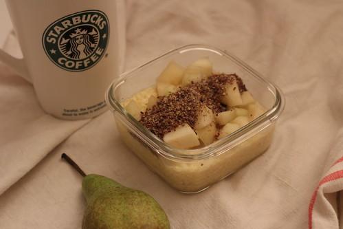 Porridge cru millet / lait de riz / poire / lin