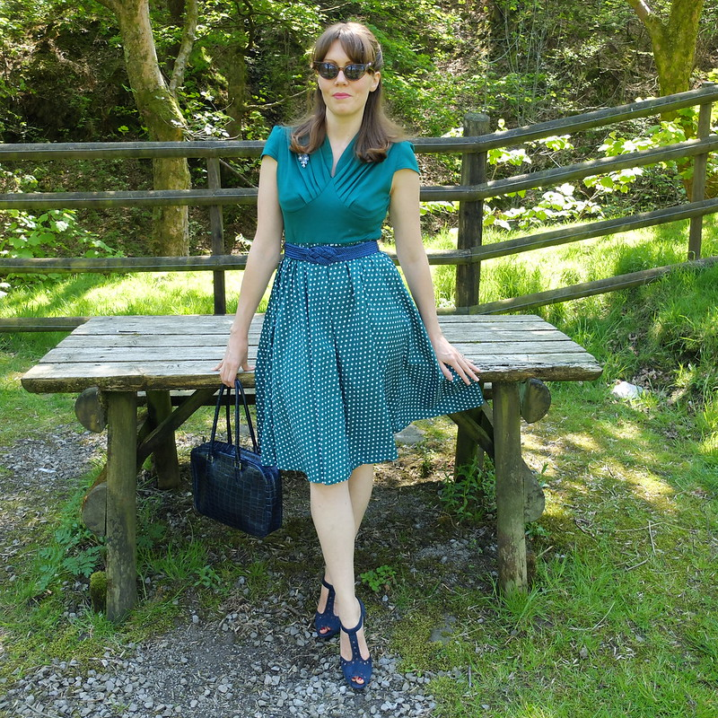 Green polkadot dress